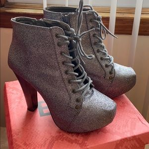 Silver Shimmer Ankle Boots